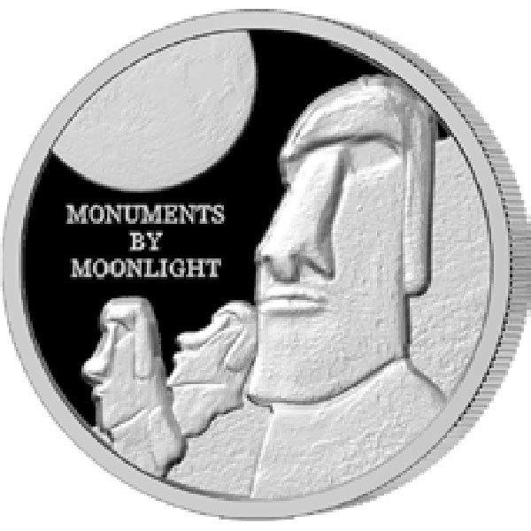 Easter Island Monuments by Moonlight 1 oz Proof Silver Coin 1$ Fiji 2019