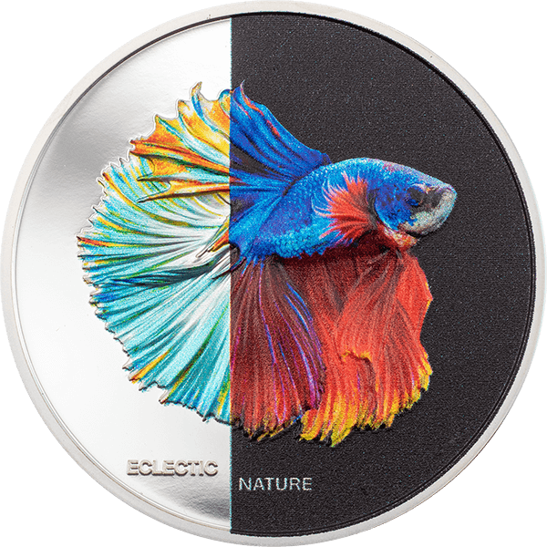 Fighting Fish Eclectic Nature 1 oz  Proof Silver Coin 5$ Cook Islands 2021