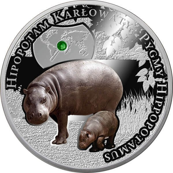 Pigmy Hippopotamus Endangered Animal Species 1/2 oz Proof Silver Coin  1$ Niue 2016