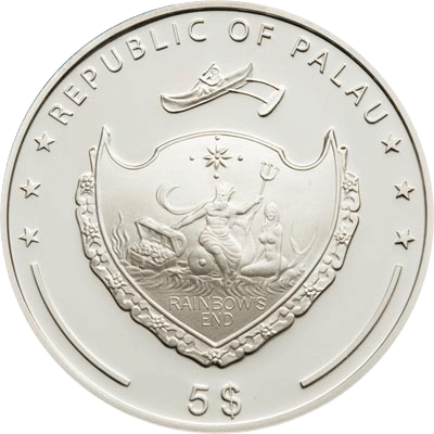 Palau 2011 5$ Apricot Pearl Marine Life Protection Proof Silver coin