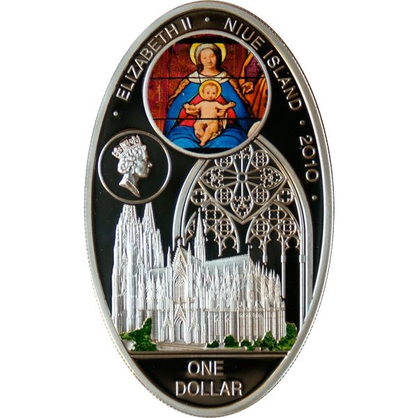 Koelner Dom Gothic cathedrals Proof Silver Coin 1$ Niue 2010