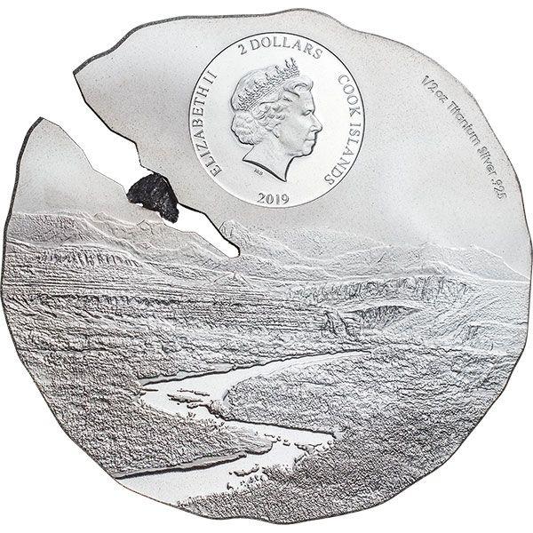 Estacado Meteorite Meteorite Impacts 1/2 oz Titanium Silver Coin 2$ Cook Islands 2019