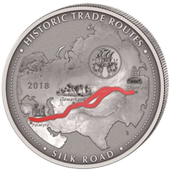 Silk Road Historic Trade Routes 5oz Antique Finish Silver Coin 5000 Francs Cameroon 2018