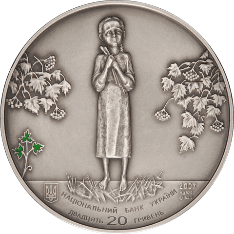 Ukraine 2007 20 Hryvnia's Holodomor UNC Silver Coin