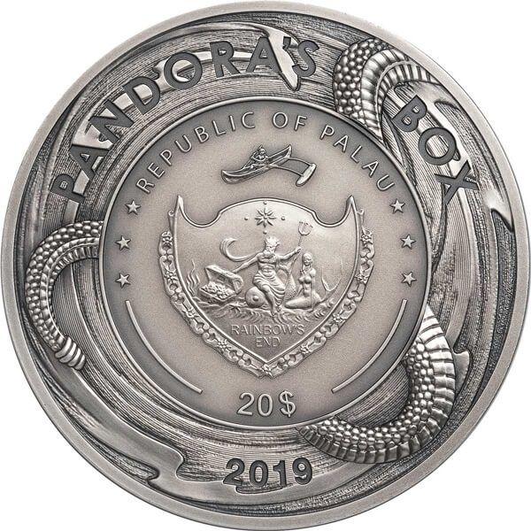 Pandora's Box 3oz Antique Finish Silver Coin 20$ Palau 2019