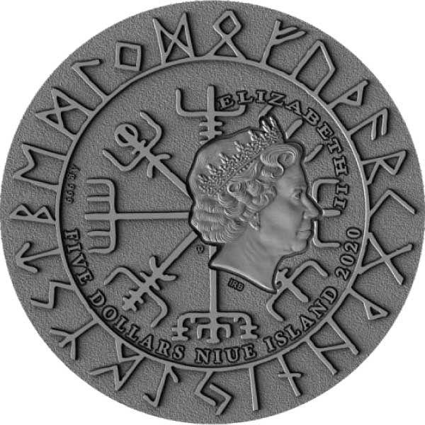 Eric Bloodaxe Vikings 2 oz Antique finish Silver Coin 5$ Niue 2020