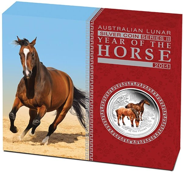 Australia 2014 0.5$ Australian Lunar Series II 2014 Year of the Horse 1/2 Oz Colored Editions Proof Silver Coin
