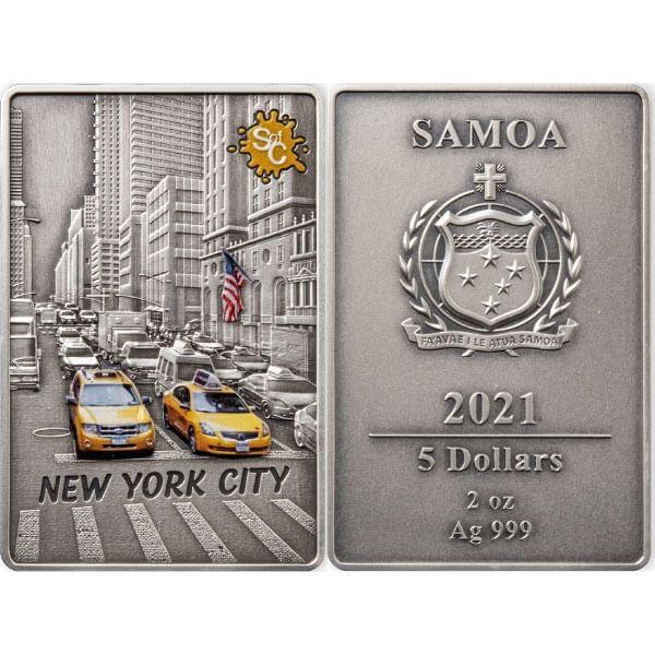 New York Splash Of Colour  2 oz Antique Finish Silver Coin 5$ Samoa 2021