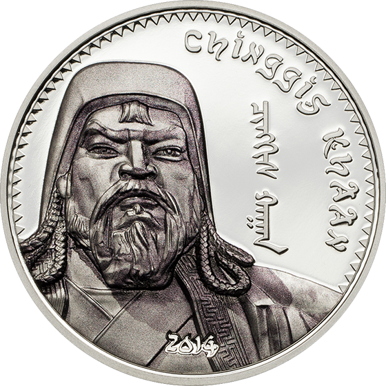 Mongolia 2014 1000 togrog Chinggis Khaan colored Proof Silver Coin