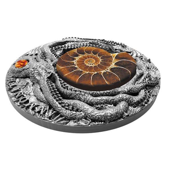 Ammonite 2 oz Antique finish Silver Coin 5$ Niue 2019