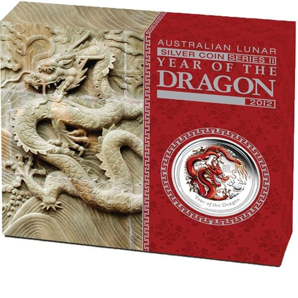 Year of the Dragon Coloured Proof Silver Coin 1/2$ Australia 2012