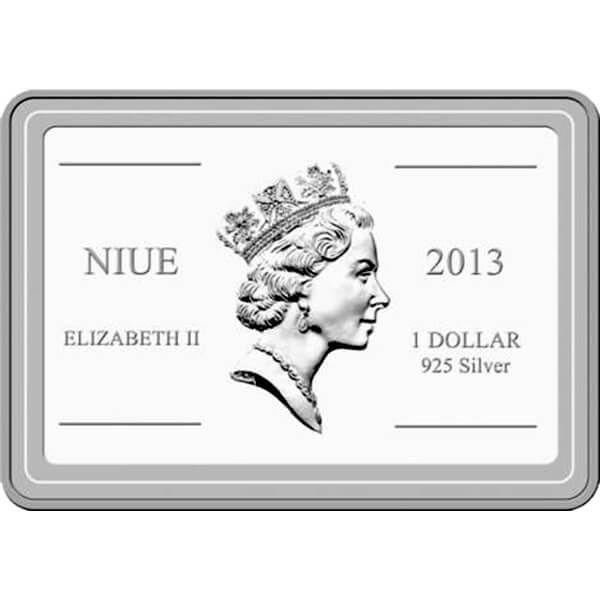 Niue 2013 1$ Royal Blue Tang  Tropical Fish Proof Silver Coin