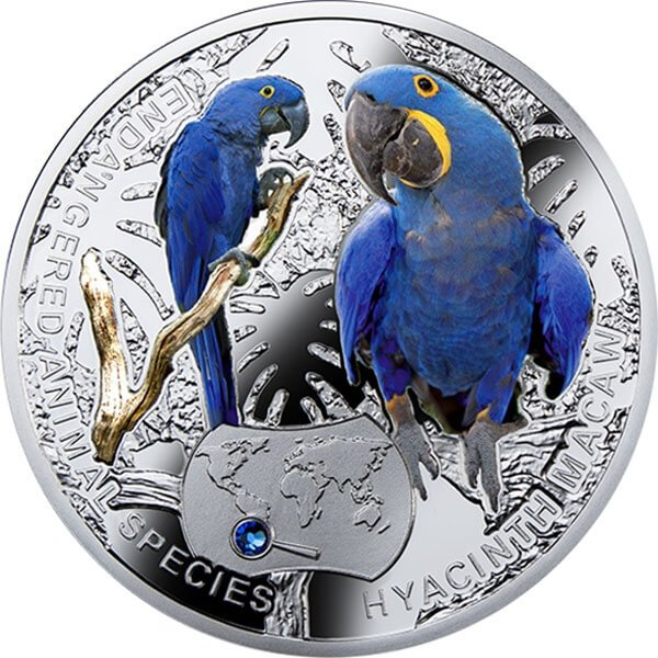 Hyacinth Macaw - Endangered Species of Animals 1/2 Oz Proof Silver Coin 1$ Niue 2014