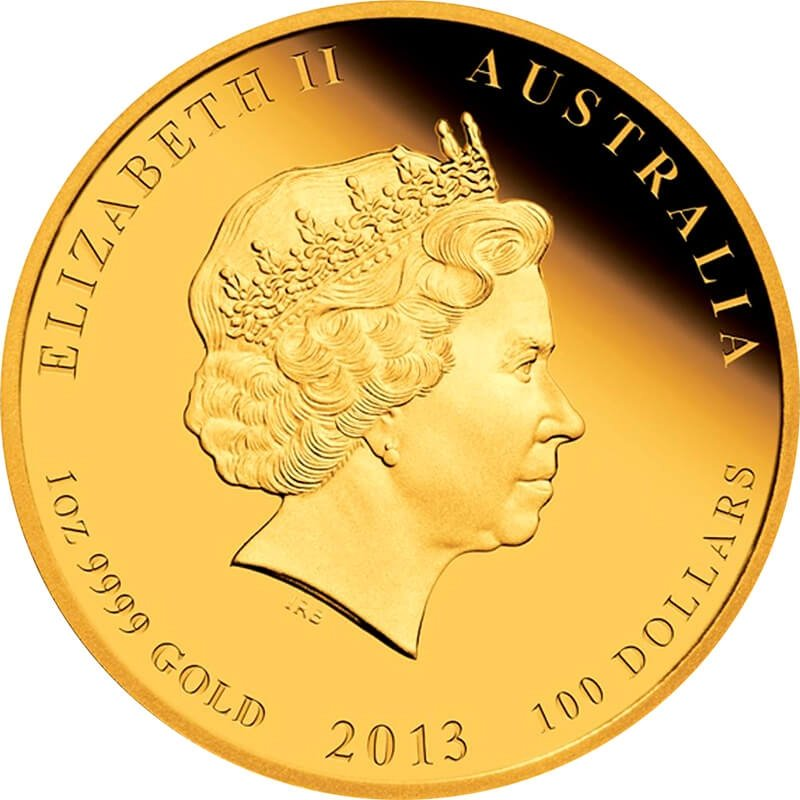 Australia 2013 100 dollars Year Of The Snake 1oz Proof Gold Coin Colored Edition