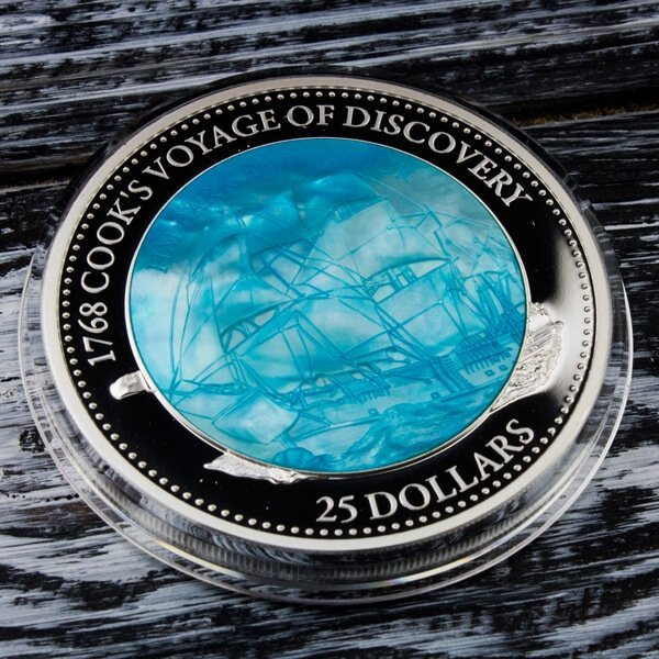 """250th Anniversary of Cook's """"Endeavour"""" Mother of Pearl 5 oz Proof Silver Coin 25$  Solomon Islands 2018"""