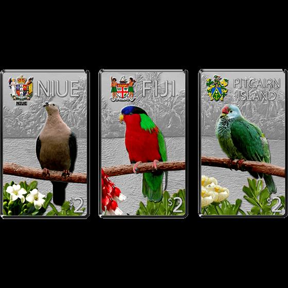 Niue 2013 3x2$ Birds of the Pacific Islands Silver Coin Set