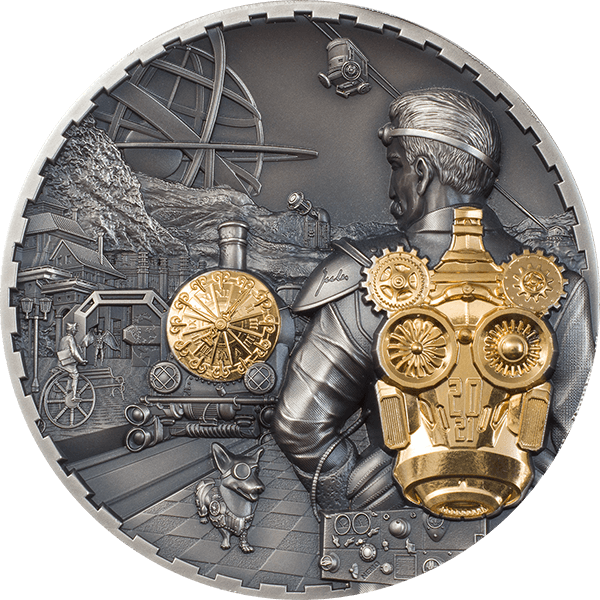 Steampunk  Jet Pack 3 oz Antique finish Silver Coin 20$ Cook Island 2021