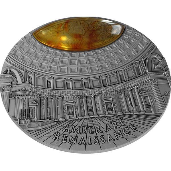Renaissance Amber Art 2 oz Antique finish Silver Coin 5$ Niue 2017