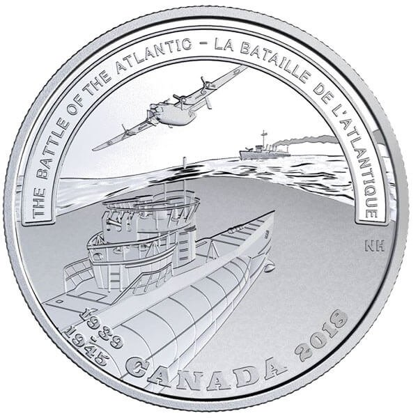 The Battle of The Atlantic Second World War Battlefront Series  31.39 g Proof Silver Coin 20$ Canada 2018