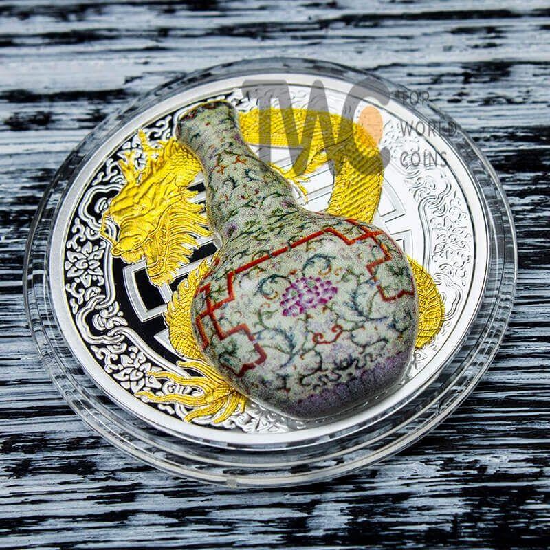 """Qianlong """"Wanshou Lianyan"""" World's Most Expensive Vase II  Proof Silver Coin 1$ Niue 2018"""