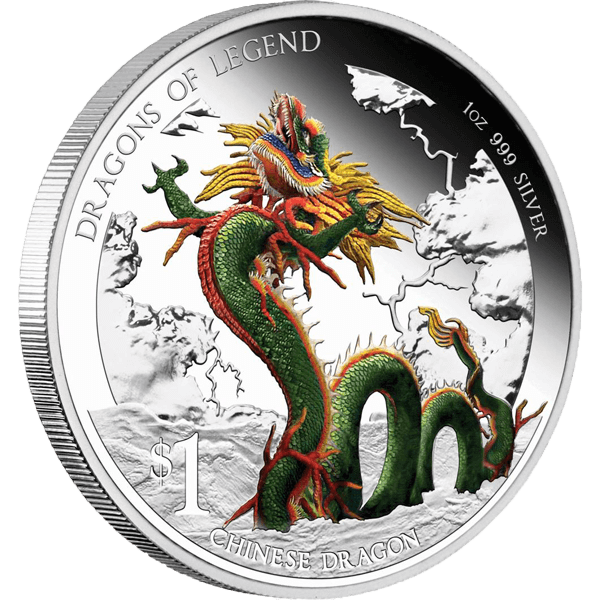 Tuvalu 2012 1$ Chinese Dragon 2012 Dragons of Legend Proof Silver Coin