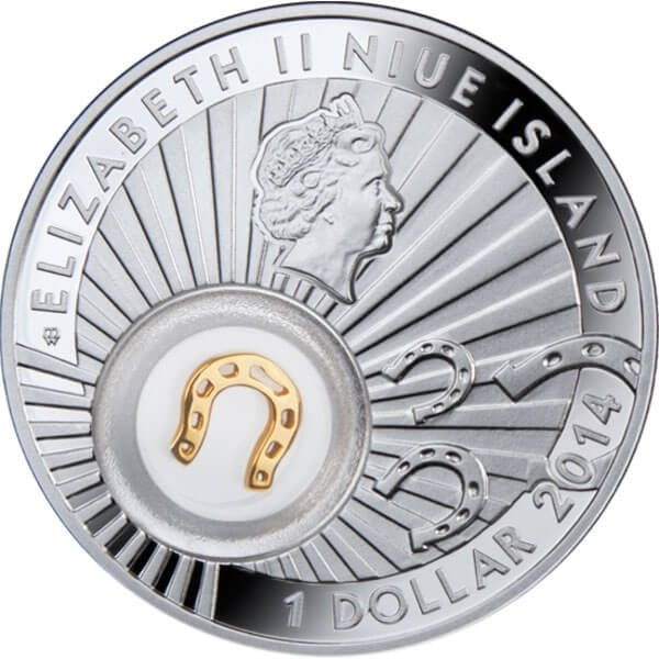 Niue 2014 1$ Horseshoe Symbols of Luck 1/2 Oz Proof Silver Coin