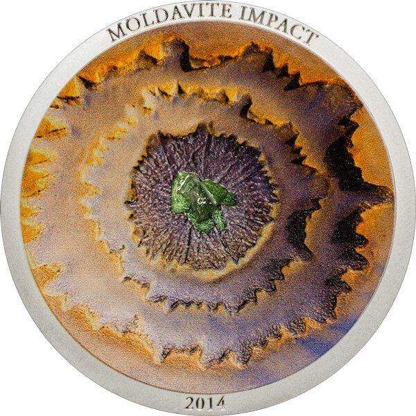 Cook Islands 2014 5$ Moldavite Impact Proof Silver Coin