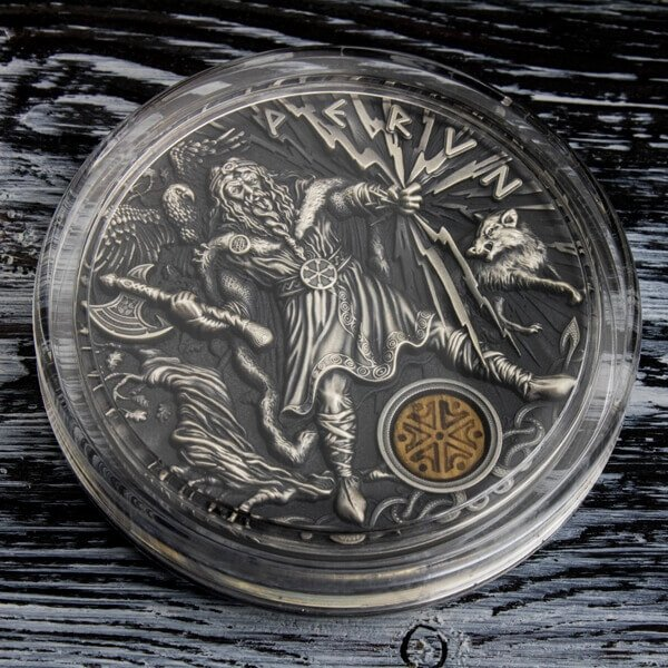 Perun Thunder Slavic Gods 2oz Antique Finish Silver Coin 2$ Niue 2018