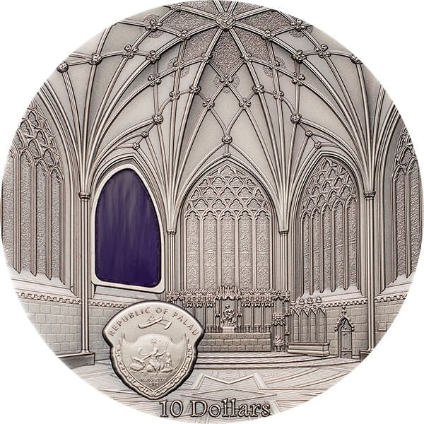 Palau 2017 10$ Wells Cathedral Decorated Lady Chapel Chapter House Tiffany Art 2 oz Antique finish Silver Coin