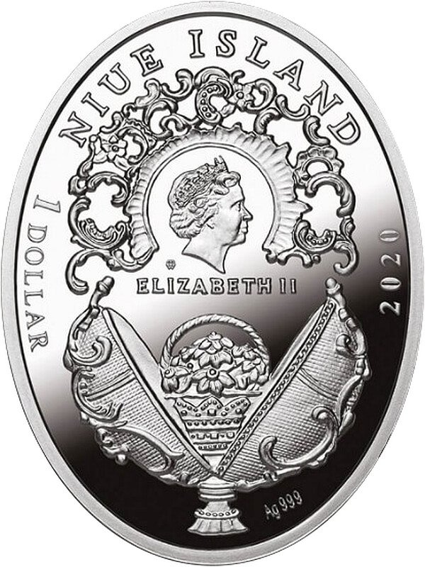 Lilies of the Valley Faberge Eggs Proof Silver Coin 1$ Niue 2020