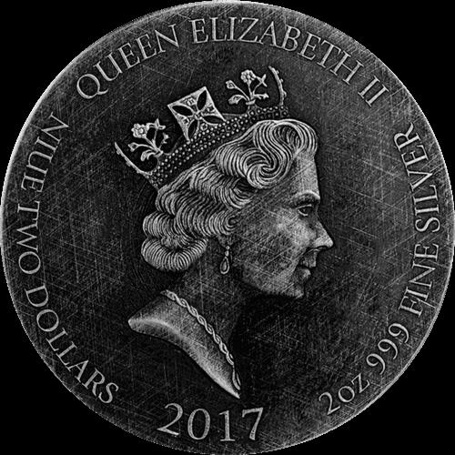 Jesus Calms the Sea Biblical Coin 2 oz  BU Silver Coin 2$ Niue 2017
