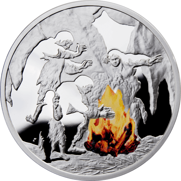 Fire Mankind's Crucial Achievements Proof Silver Coin 1$ Niue 2010