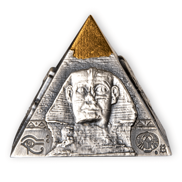 Pyramid of Khafre Masterpieces of Art 5 oz Antique finish Silver Coin 250 Francs Djibouti 2021