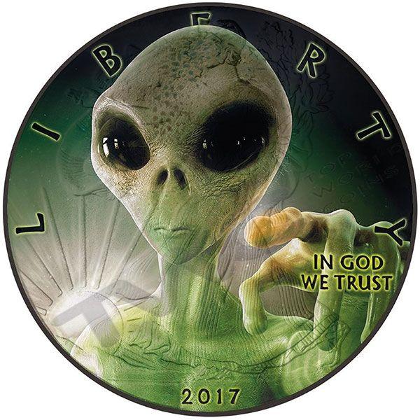 Liberty Glow in the dark - Alien 1 oz Black Ruthenium BU Silver Coin 1$ United States 2017