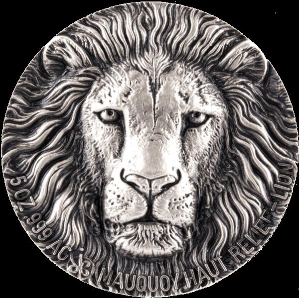 Ivory Coast 2016 5000 francs Lion Mauquoy Haut Relief Big five 5 oz Antique finish Silver Coin