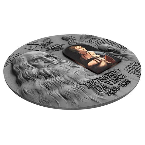 500th Anniversary of Leonardo Da Vinci's Death 2 oz Antique Finish & Black Proof Silver Coin 2000 Francs CFA Cameroon 2019