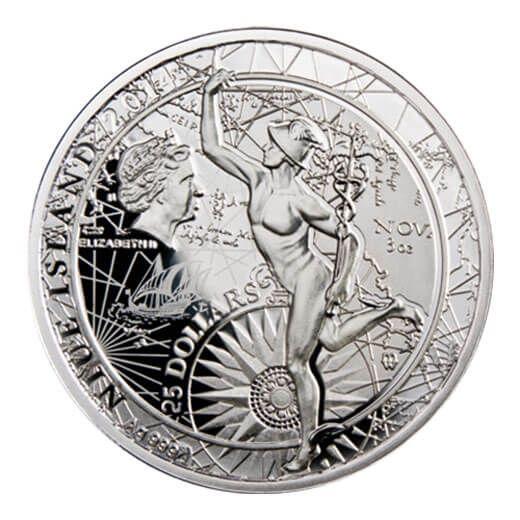Mini Fortuna Redux Mercury First Cylinder Shape 3 oz Proof Silver Coin 25$ Niue 2014