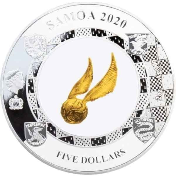 Harry Potter The Golden Snitch 2 oz Proof Silver Coin 5$ Samoa 2020