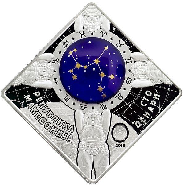 Sagittarius Zodiac signs 2018 Proof Silver Coin 100 Denars Macedonia 2018