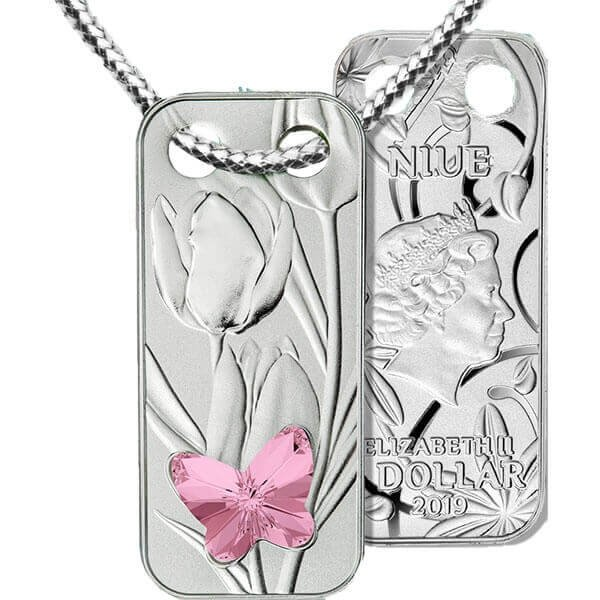 Pendant With a Butterfly Proof Silver Coin 1$ Niue 2019