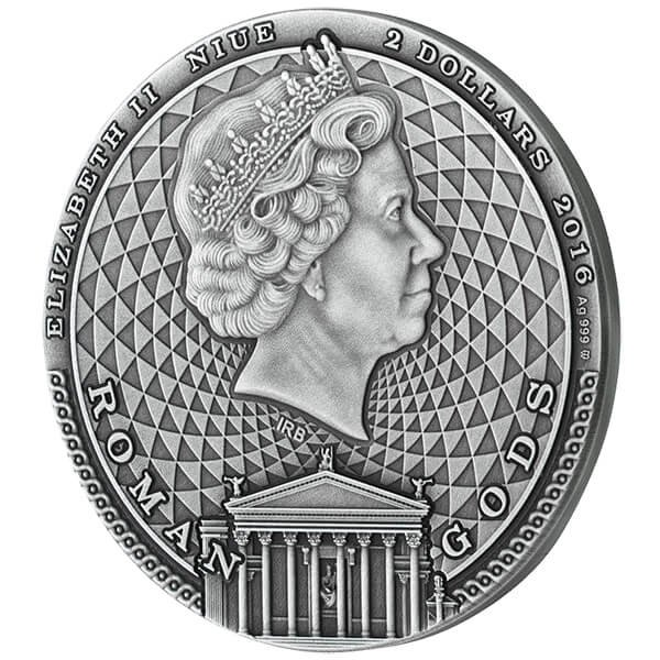 Niue 2016 2$ Jupiter - Roman Gods 2 oz Antique Finish Silver Coin