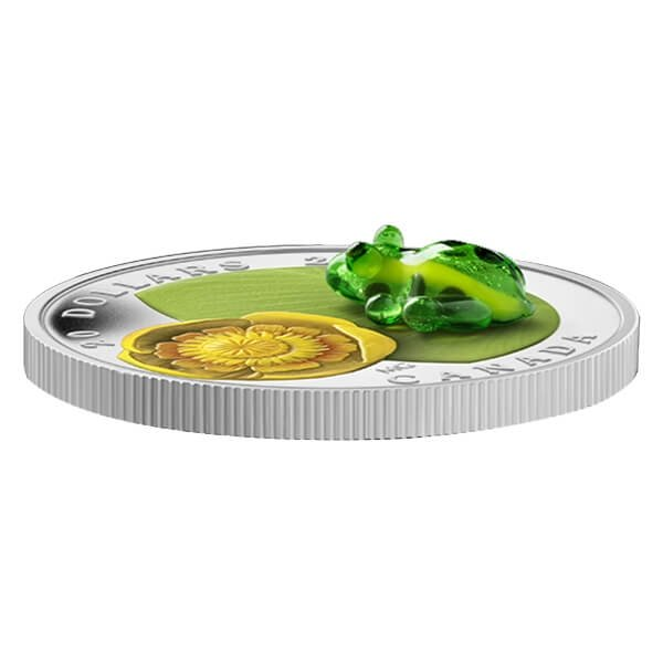 Canada 2014 20$ Water Lily with Venetian Glass Leopard Frog (2014) Proof Silver Coin