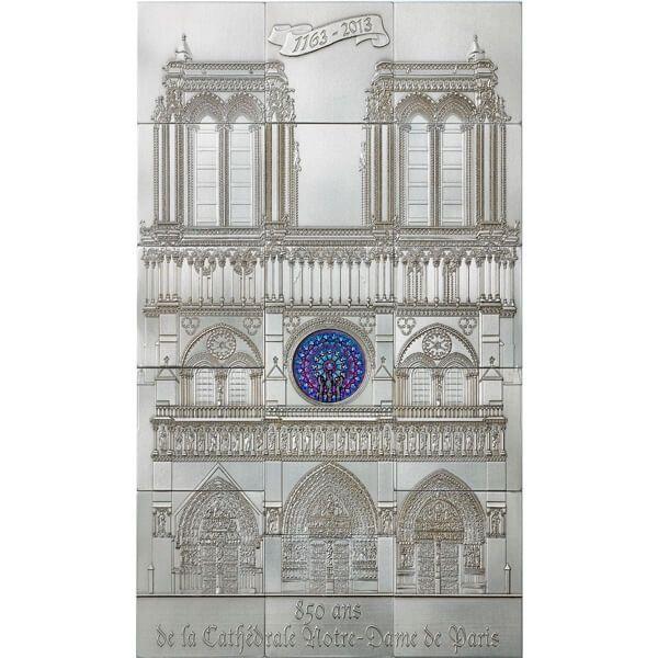 Niue 2014 10$ 850th Anniversary of Notre Dame in Paris (15 Silver Bars) 1 Kilo BU Silver Coin