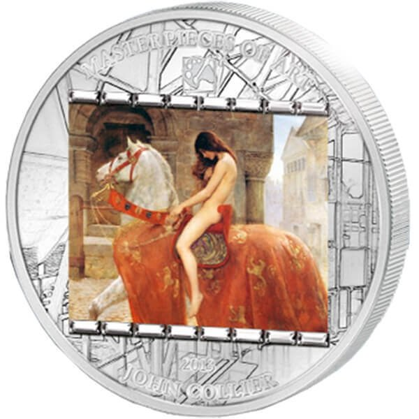 """Cook Islands 2013 20$ """"Lady Godiva"""" John Collier Masterpieces of Art 3 oz Proof Silver Coin"""