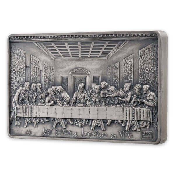 Last Supper 500th Anniversary Leonardo da Vinci 1000g Antique finish Silver Coin 25$ Samoa 2019