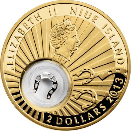 Niue 2013 2$ Horseshoe Lucky Coins III Proof Silver Coin