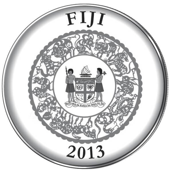 Fiji 2013 10 $ Year of the Snake Pearl. Lunar 2013 Proof Silver Coin
