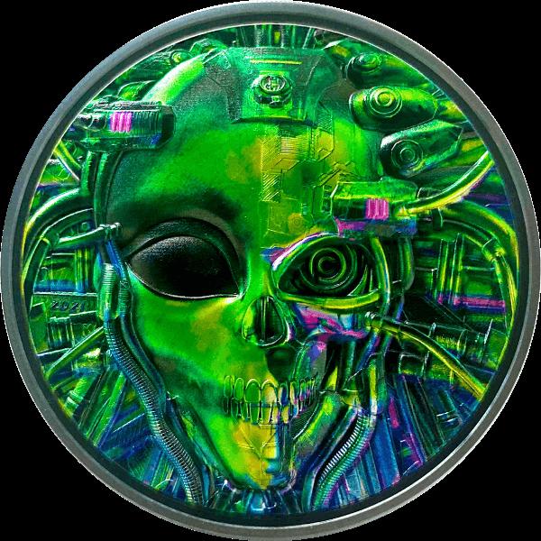 The Alien Cyborg Revolution 3 oz Black Proof Silver Coin 20$ Palau 2021