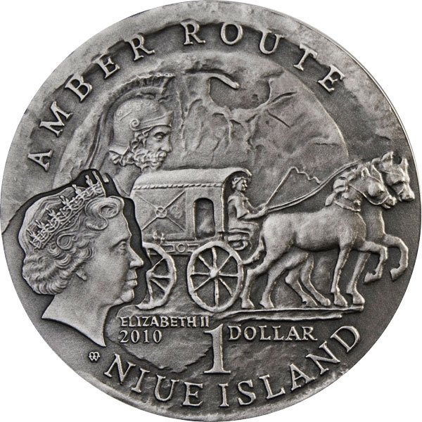 Shombately Amber Route UNC Silver Coin 1$ Niue 2010