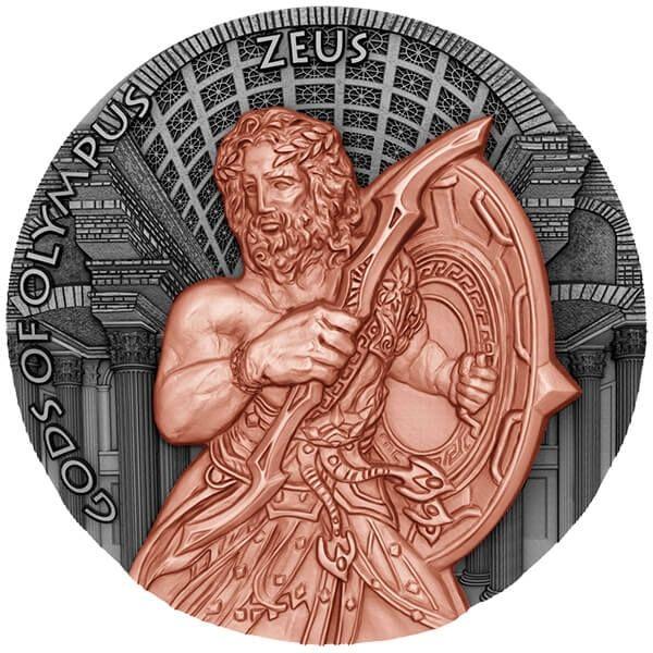 Niue 2017 5$ Gods of Olympus Zeus 2 oz Antique Finish Silver Coin